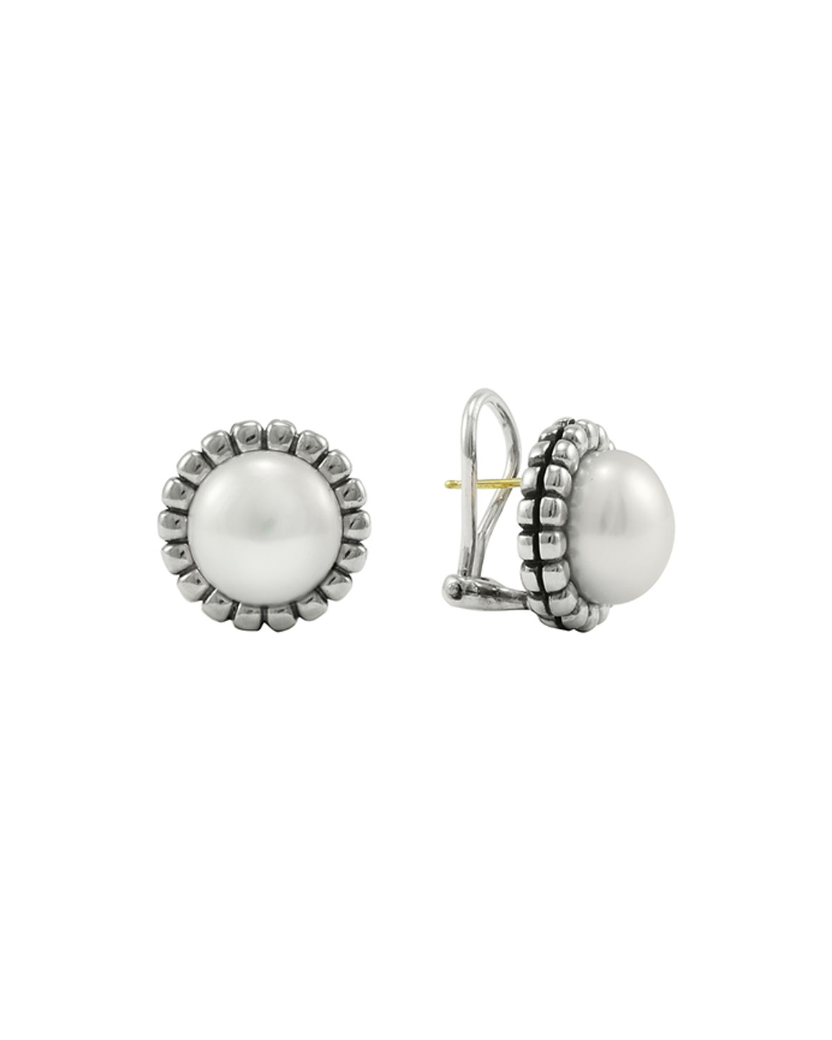 Lagos Fluted Pearl Stud Earrings, 12mm