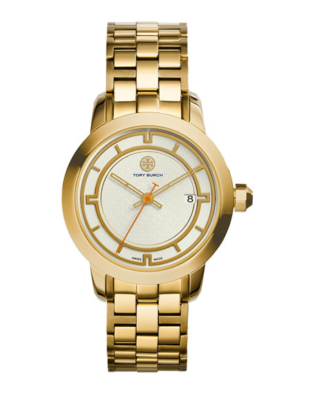 37mm Tory Stainless Steel Bracelet Watch, Ivory/Golden