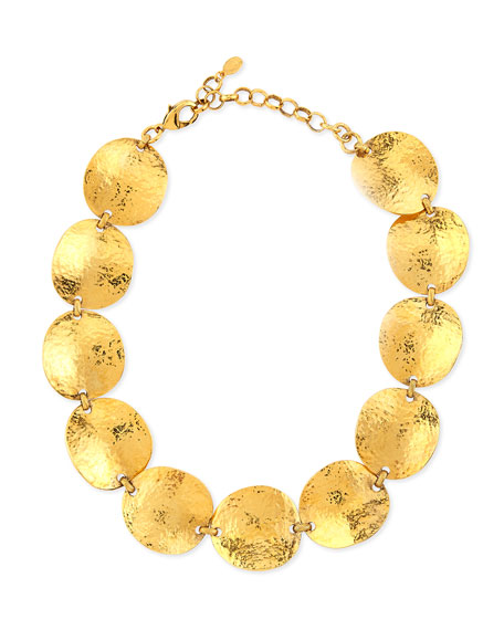 Gold-Plated Hammered Disc Necklace