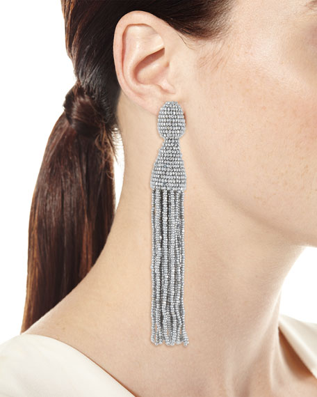 Beaded Long Tassel Clip Earrings