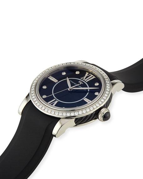 34mm Ceramic Diamond Watch w/Rubber Strap