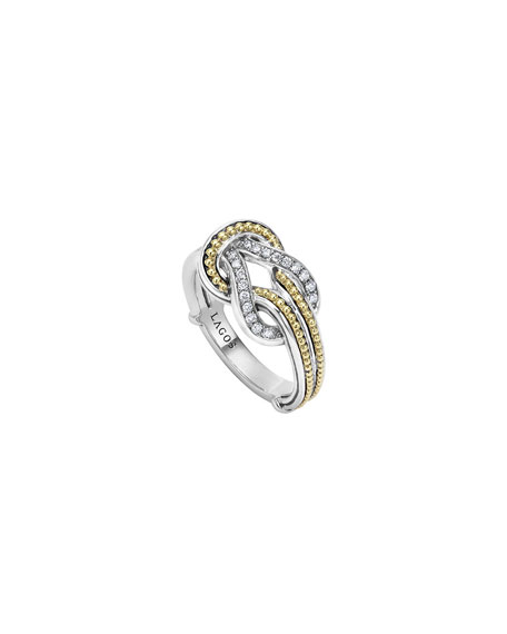 Lagos Newport 18K Gold Diamond Knot Ring