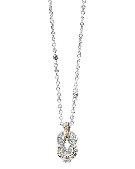 Image 1 of 3: Lagos Newport 18K Gold Diamond Rope Pendant Necklace