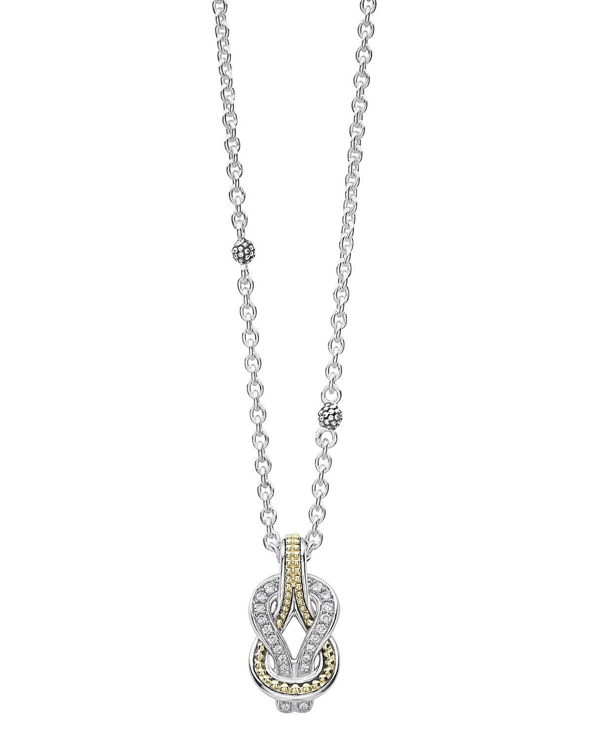 Lagos Newport 18K Gold Diamond Rope Pendant Necklace