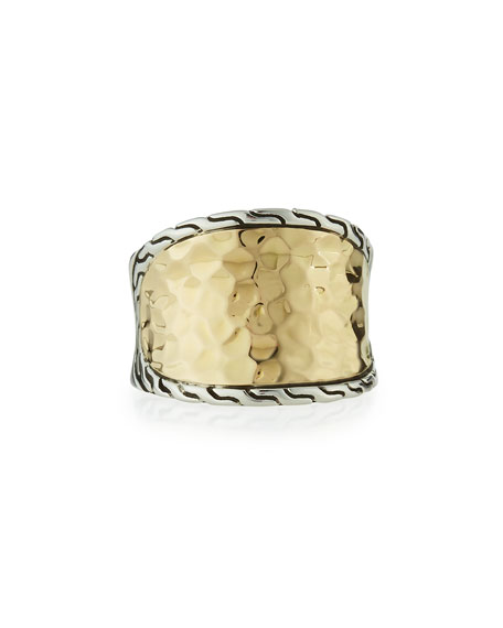 John Hardy 18K Gold & Silver Small Saddle Ring