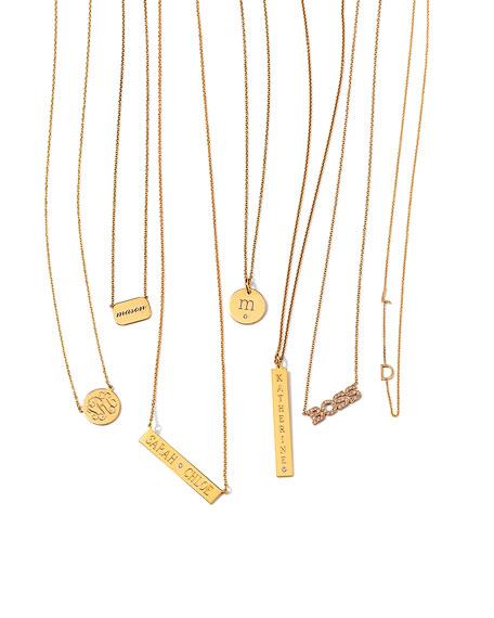 Sarah Chloe Leigh Engraved Bar Pendant Necklace with Diamond