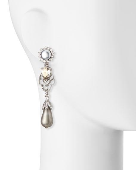 Linear Pearly Drop Earrings