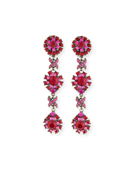 Linear Link Crystal Drop Earrings, Red