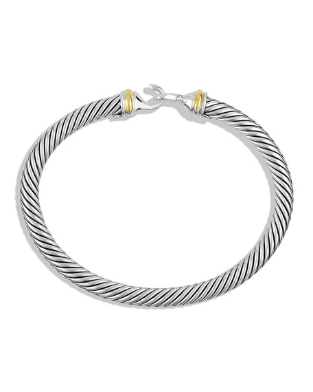 Image 4 of 5: David Yurman Cable Classic Buckle Bracelet with 18K Gold, 5mm