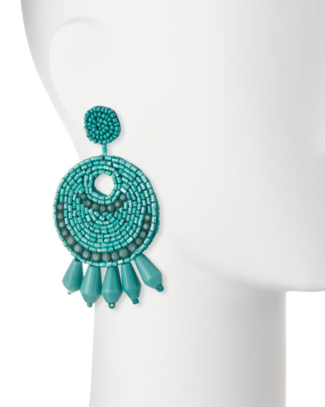 Beaded Hoop Drop Clip-On Earrings, Turquoise