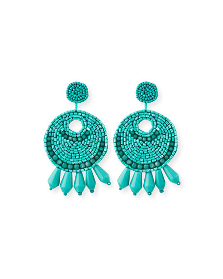 Kenneth Jay Lane Beaded Hoop Drop Clip-On Earrings,