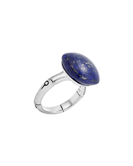 John Hardy Bamboo Cushion Lapis Ring, Size 7