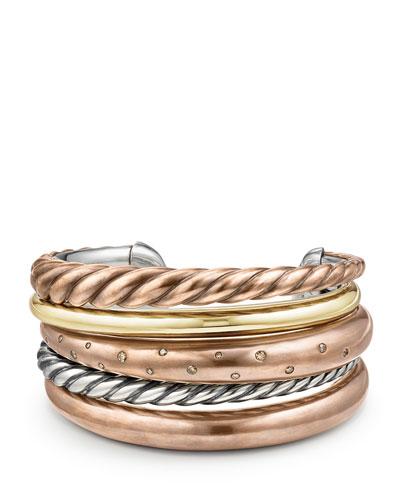 Pure Form Five-Row Bracelet with Cognac Diamonds