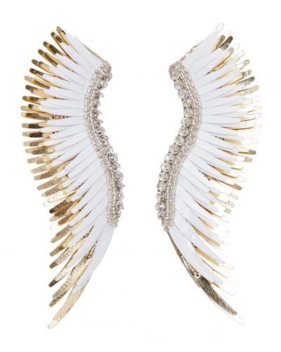 Madeline Beaded Statement Earrings  White/Golden