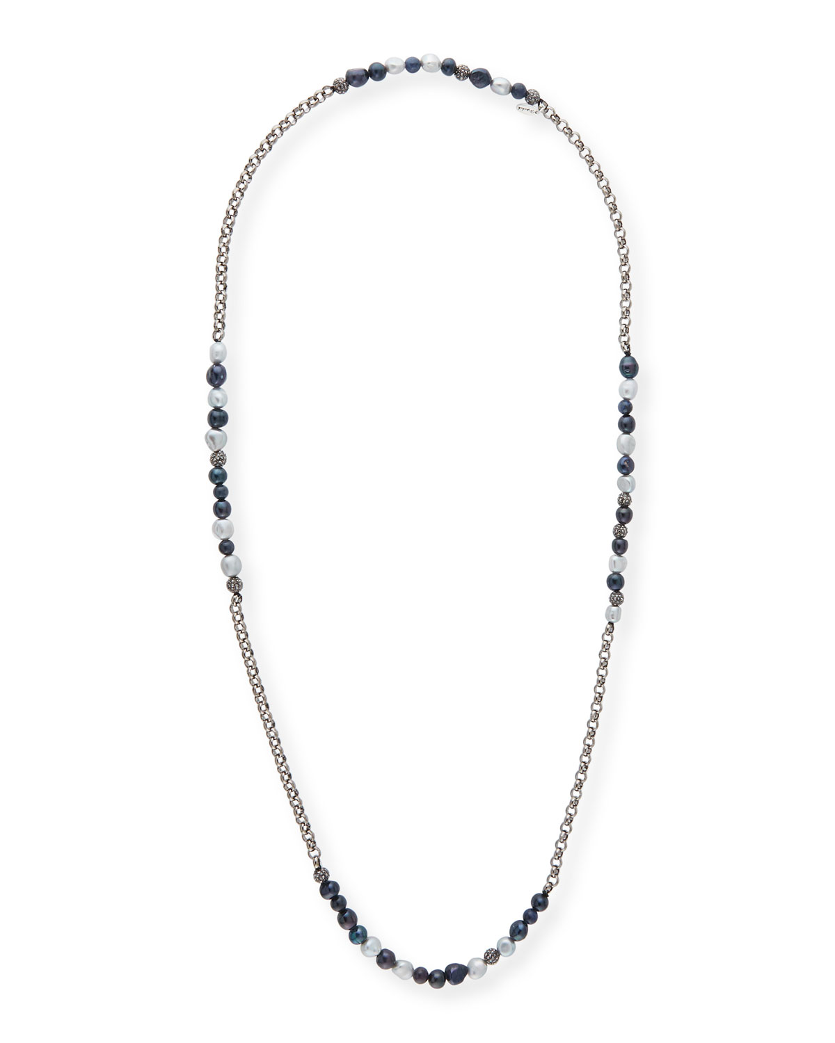 Hipchik Rolo Beaded Gunmetal Necklace yAkMxa