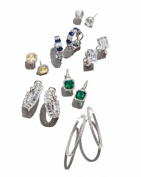 Fantasia by DeSerio Alternating Blue & White CZ Hoop Earrings