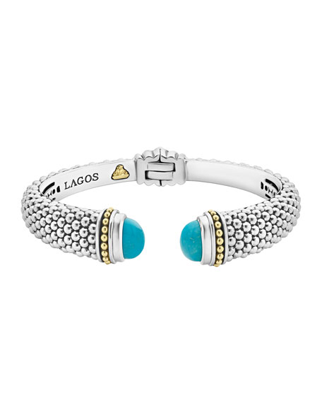 Caviar Medium Cuff Bracelet with Blue Topaz Caps