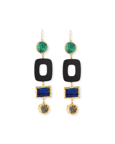 Turquoise & Black Horn Statement Earrings