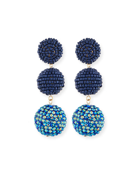Kenneth Jay Lane Beaded Three-Drop Ball Earrings