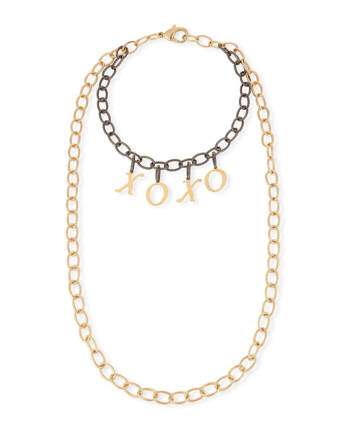 Hipchik Eugene Two-Tone XOXO Chain Necklace