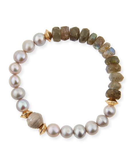 Akola Vail Pearly Gray Beaded Bracelet