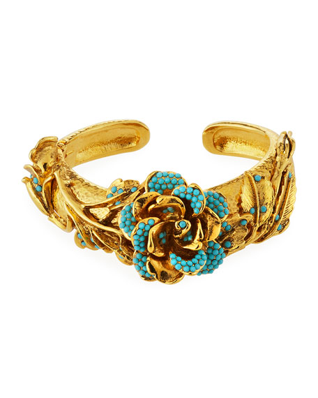 Jose & Maria Barrera Golden 3D Crystal Rose Bracelet