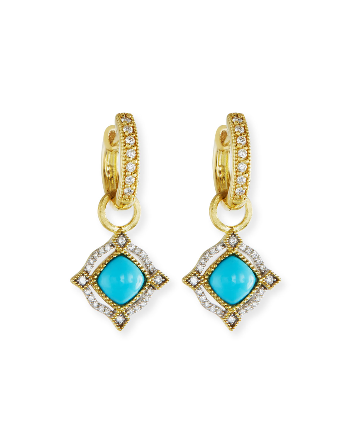 Jude Frances Lisse 18K Delicate Cushion Turquoise Earring Charms with Diamonds vluMed