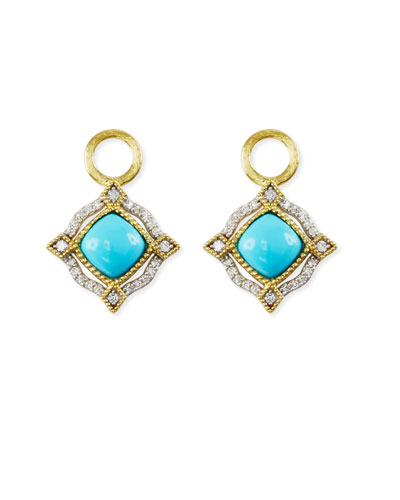 Lisse 18K Delicate Cushion Turquoise Earring Charms with Diamonds
