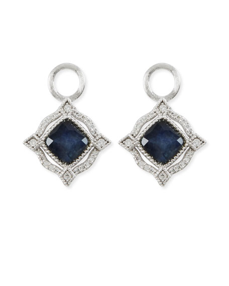 Jude Frances Lisse 18K Delicate Cushion Blue Labradorite Earring Charms with Diamonds fnisLx