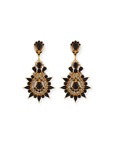 Jose & Maria Barrera Black Crystal Three-Drop Clip-On Earrings El4wRQ72
