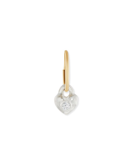 Double Heart Single Earring with Stones