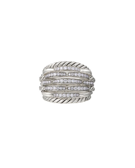 Image 1 of 4: David Yurman Tides Large Dome & Diamond Pave Ring