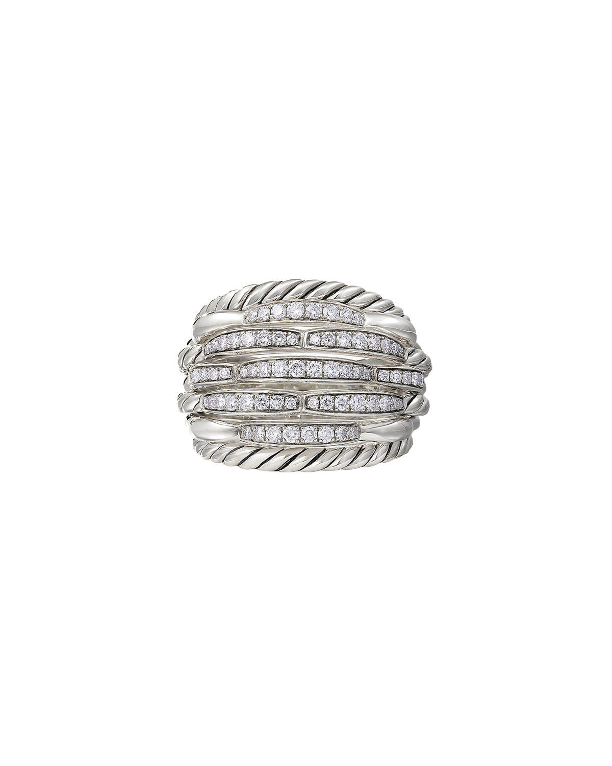 David Yurman Tides Large Dome & Diamond Pave Ring