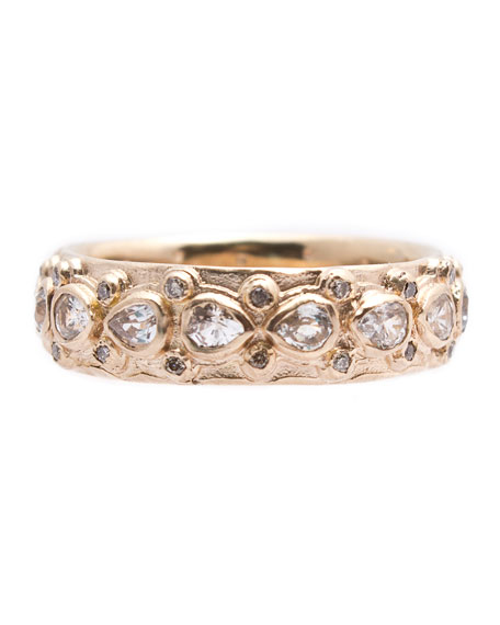 Image 1 of 2: Armenta New World Pear Sapphire & Diamond Eternity Band Ring, Size 6.5