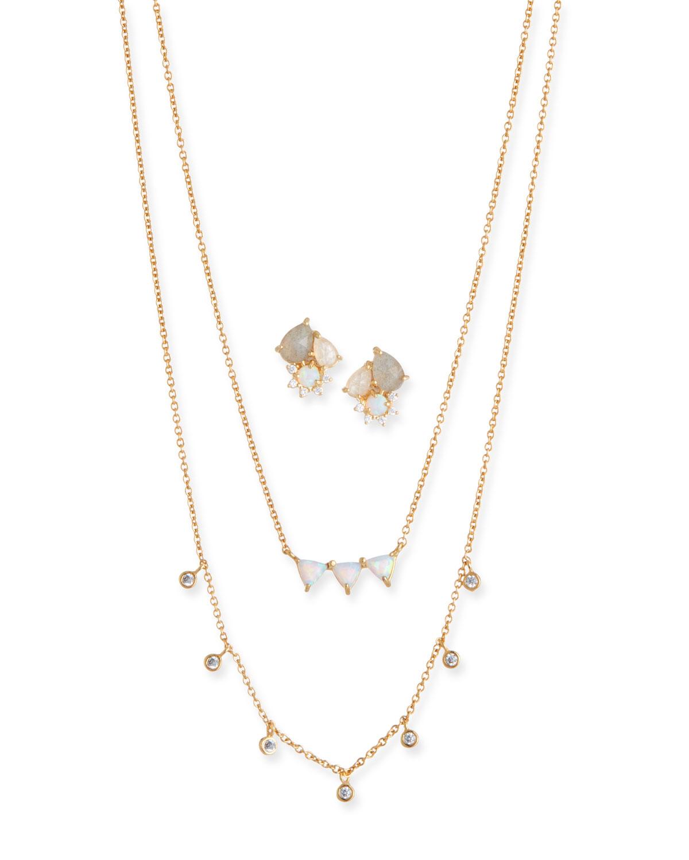 Cubic Zirconia Opal Earrings Necklace Set