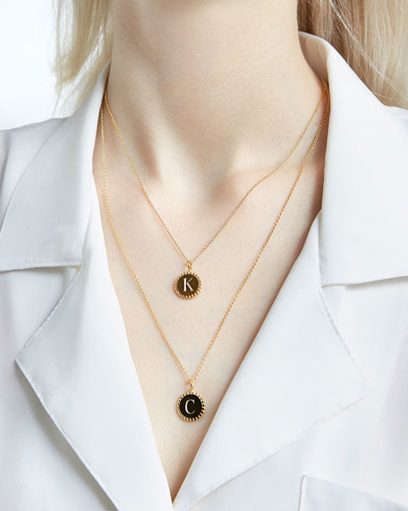 Image 3 of 3: Sarah Chloe Madi Small Engraved Initial Pendant Necklace