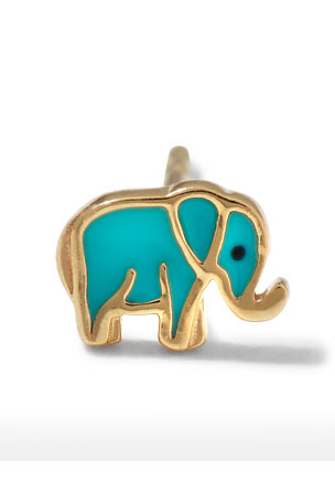Sydney Evan 14k Mini Elephant Enamel Stud Earring, Left