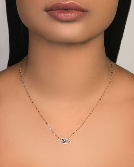 LANA 14k Diamond Pave Evil Eye Pendant Necklace