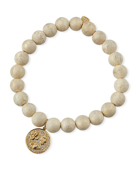 Sydney Evan 14k Protection Tableau Medallion & Bead Bracelet