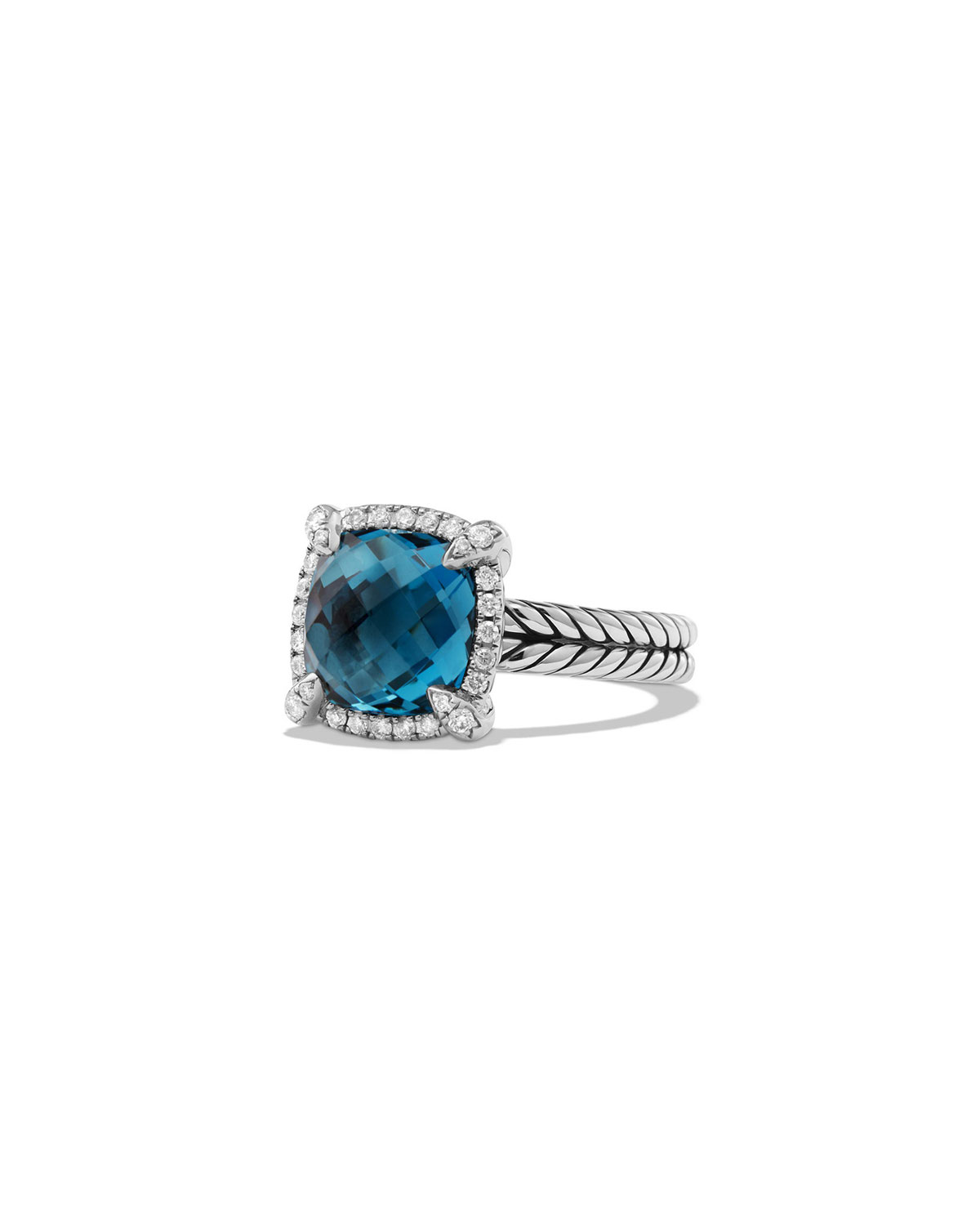 David Yurman 9mm Chatelaine Ring with Diamonds in Blue Topaz