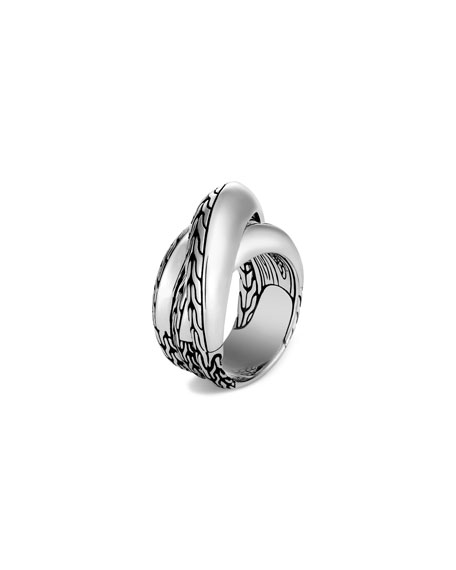 John Hardy Classic Chain Knife-Edge Crossover Ring, Size 6-8