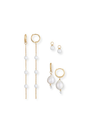 Tai Build-Your-Own Pearl Huggie Hoop Earring Set