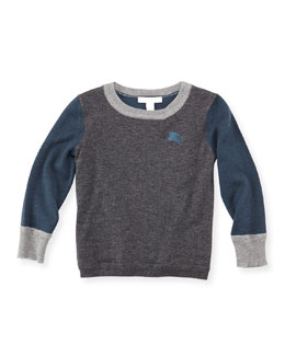 Burberry Colorblock Cashmere Sweater, Dark Gray, 4Y-10Y