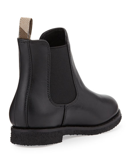 Short Leather Weather Boot, Black, Infant