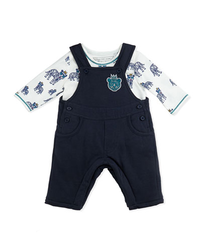 Little Marc Jacobs Boys' Tiger-Print Top & Overall Set, Navy, Sizes 3-18 Months