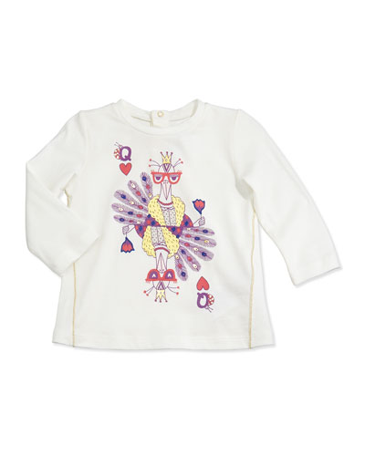 Little Marc Jacobs Peacock-Print Long-Sleeve Tee, White, 2T-3T