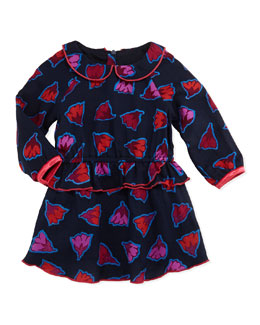 Little Marc Jacobs Flower Print Ruffle Peplum Dress, Navy, Girls' Sizes 2T-3T