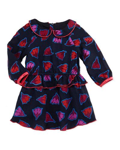 Little Marc Jacobs Flower Print Ruffle Peplum Dress, Navy, Girls' Sizes 2T-3T
