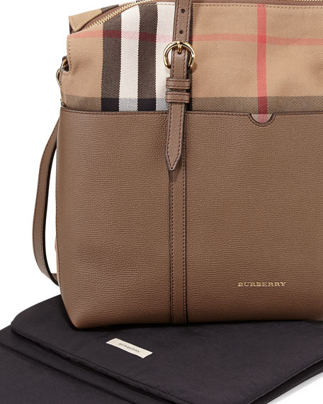 Image 3 of 4: Mason Check-Canvas & Leather Diaper Tote Bag