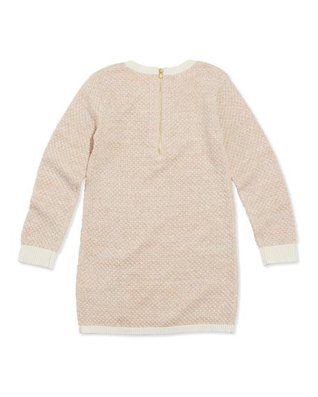 Shimmer Popcorn Knit Sweaterdress, Pink, Sizes 2A-5A